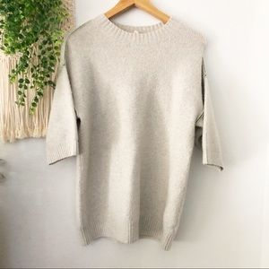 ANTHRO MOTH Gray Half Sleeve Wool Blend Sweater